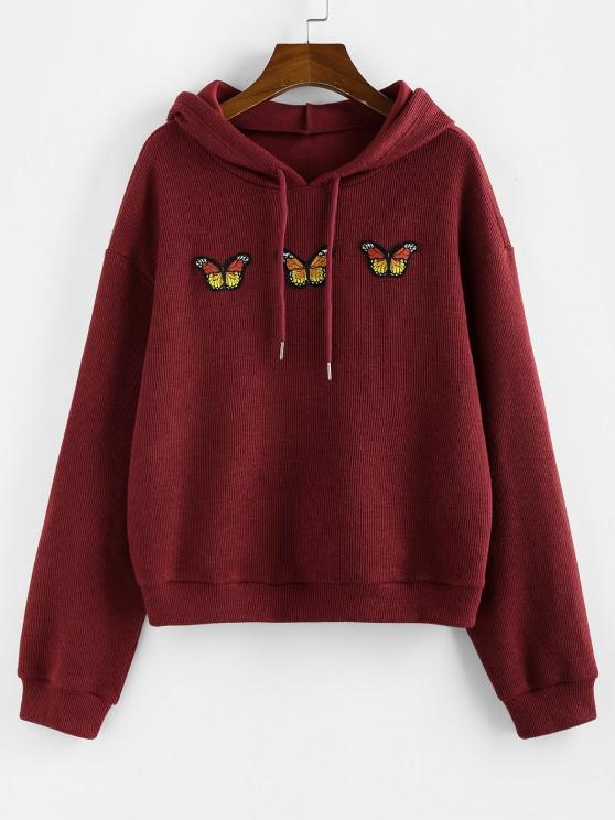 chic ZAFUL Knitted Butterfly Applique Drop Shoulder Hoodie - RED M