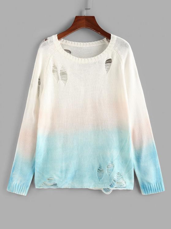 ZAFUL Dip Dye Distressed Raglan Sleeve Sweater - متعدد S