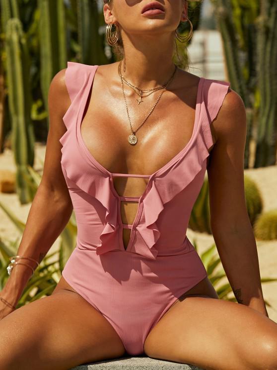 ZAFUL Ribbed Lace-up Ruffle Plunge One-piece Swimsuit - وردي فاتح S