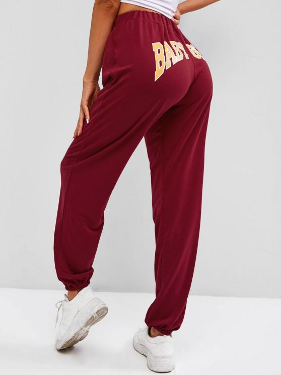 trendy Drawstring BABY GIRL Graphic Jogger Sweatpants - DEEP RED M