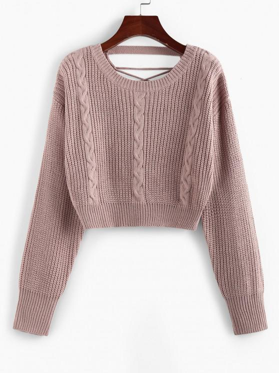 sale ZAFUL Criss Cross Cable Knit Crop Sweater - LIGHT PINK S