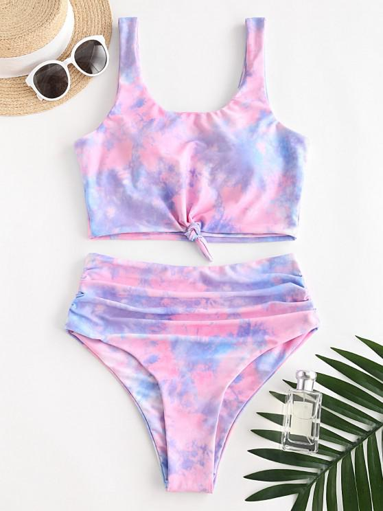 buy ZAFUL Knot Ruched Rainbow Tie Dye Tankini Swimsuit - LIGHT PINK XL