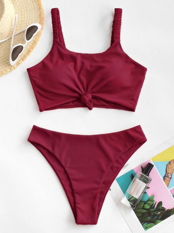 hot ZAFUL Knot Elasticated Straps Ribbed Tankini Swimwear - DEEP RED L