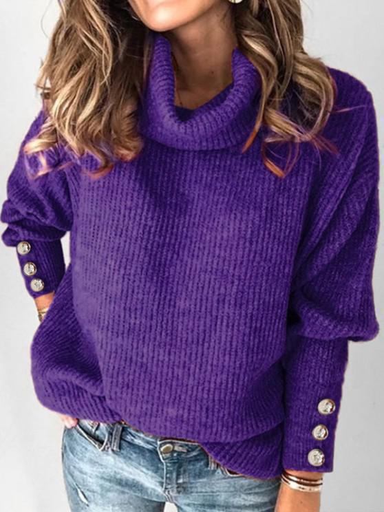 outfits Plus Size Drop Shoulder Turtleneck Sweater - PURPLE L