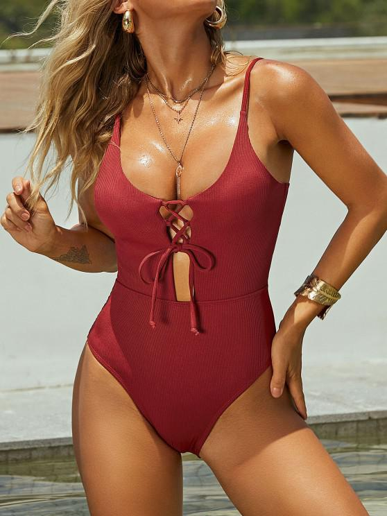 hot ZAFUL Lace-up Ribbed One-piece Swimsuit - RED WINE L