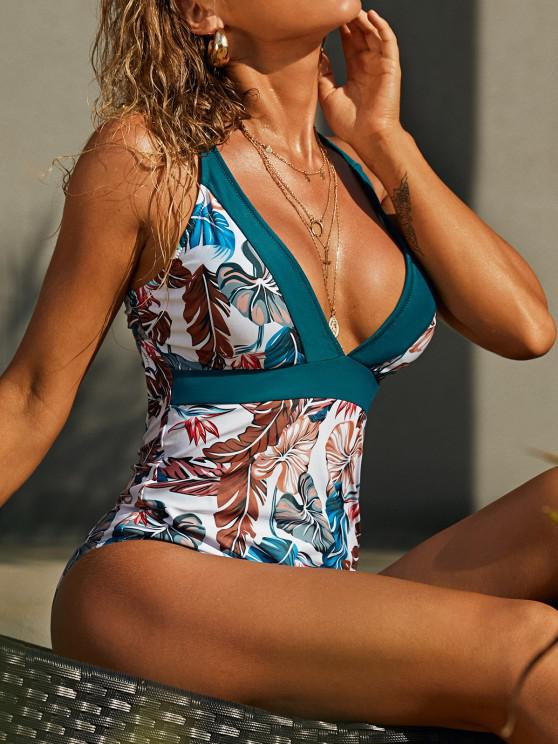 ladies ZAFUL Palm Leaf Crisscross Back Tropical One-piece Swimsuit - PEACOCK BLUE L