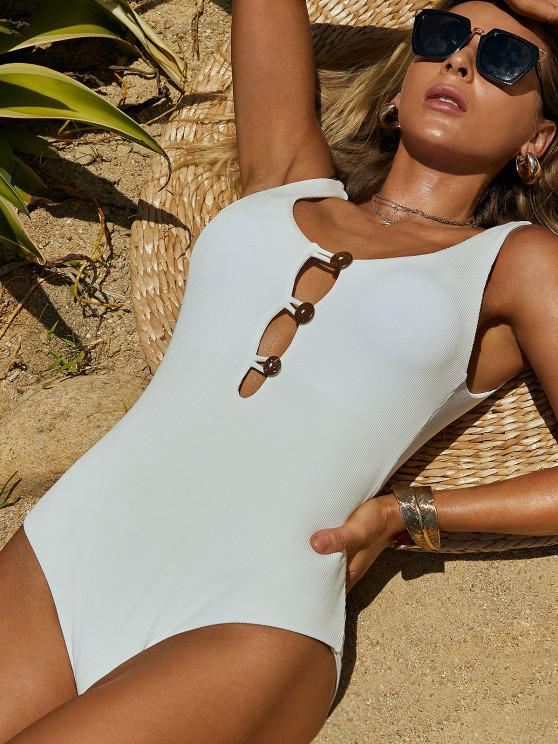 ZAFUL Ribbed Button Loop Front One-piece Swimsuit - أبيض S