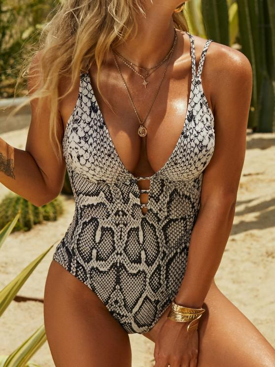 affordable ZAFUL Snakeskin Lace-up Cross One-piece Swimsuit - COFFEE S