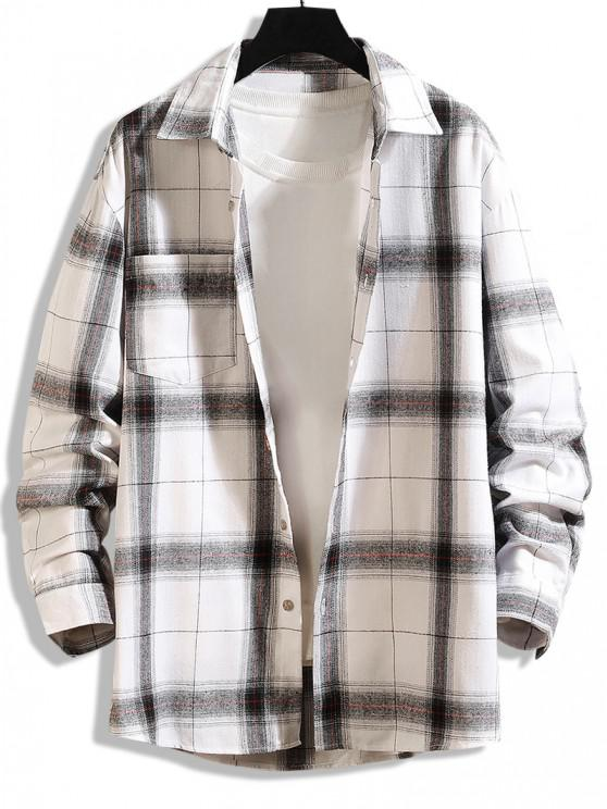 latest Curved Hem Plaid Print Pocket Shirt - WHITE XS