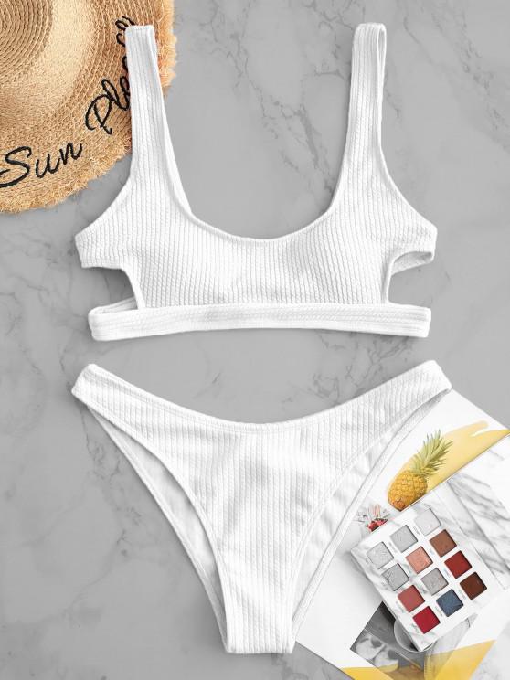 sale ZAFUL Textured Cutout High Cut Bikini Swimsuit - WHITE S