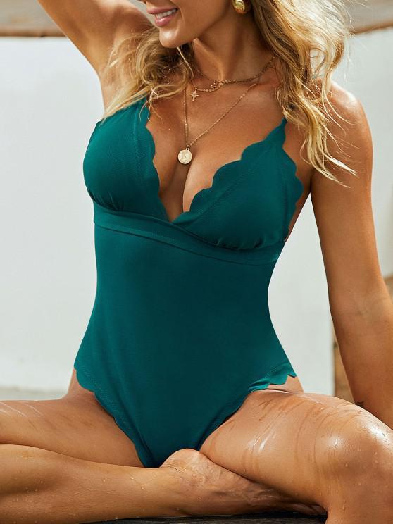 ZAFUL Textured Scalloped One-piece Swimsuit - الطاووس الأزرق S