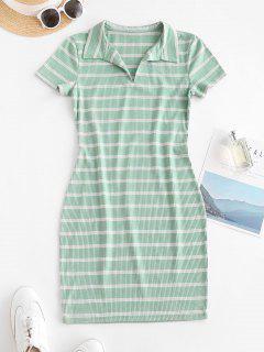 Lässiges Bodycon Geripptes Kleid Mit Streifen - Grün S