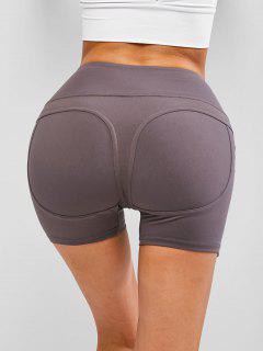 Wide Waistband Topstitch Peach Buttock Biker Shorts - Gray S