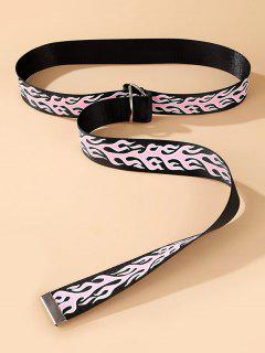 Flame Print Rings Buckle Canvas Belt - Black