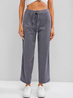 Ribbed Knit Wide Leg Pants - Gray Xl