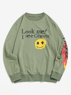 Letter Graphic Print Funny Sweatshirt - Light Green S