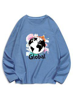 Global Graphic Print Long Sleeve T-shirt - Silk Blue S