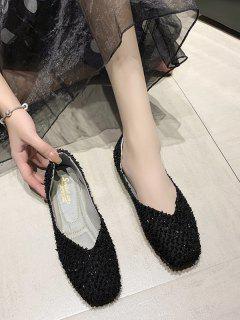 Chaussures Plates Texturée à Bout Carré - Noir Eu 41