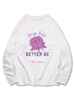 Langärmliges T-Shirt Mit Blumenmuster Und Langen Ärmeln - Milchweiß 2xl