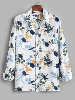 Tropical Leaf Parrot Print Vacation Shirt - White Xl