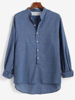 Solid Long Sleeve Button Down Shirt - Deep Blue 2xl