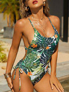 ZAFUL Palm Leaf Cinched Crisscross Monokini Swimsuit - Deep Green M