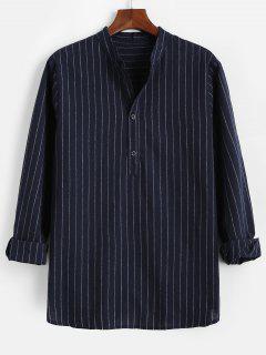 Stripes Pattern Half Button Long Sleeve Shirt - Deep Blue L
