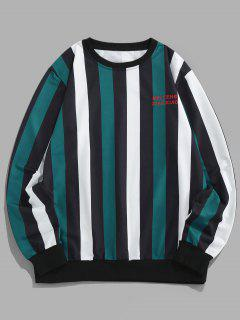 ZAFUL Colorblock Stripes Letter Embroidery Sweatshirt - Multi 2xl