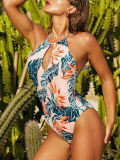 ZAFUL Tropical Print Halter Backless Keyhole One-piece Swimsuit - Light Orange M