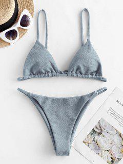 ZAFUL Textured Tie String Bikini Swimwear - Dark Gray S