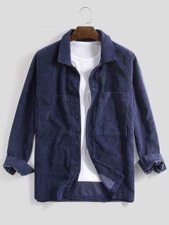 Long Sleeve Double Pockets Corduroy Shirt - Deep Blue Xl