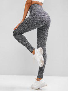 Wide Waistband Topstitch Pocket Workout Gym Leggings - Gray M