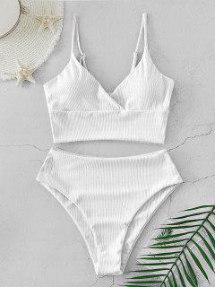 ZAFUL Ribbed High Cut Surplice Tankini Swimsuit - White M