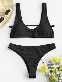 ZAFUL Neon Gerippte Hochgeschnittene Bikini Badebekleidung - Schwarz S