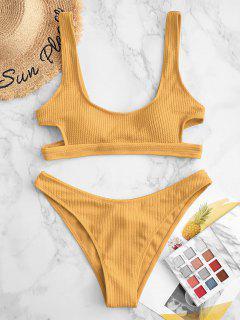 ZAFUL Textured Cutout High Cut Bikini Swimsuit - Deep Yellow S