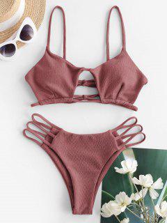 ZAFUL Textured Cutout Ladder Cut String Bikini Swimwear - Light Pink S