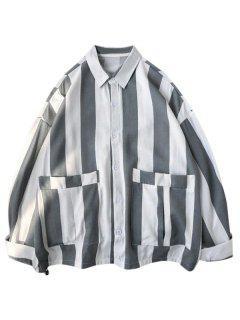 Striped Print Double Pockets Shirt - White M