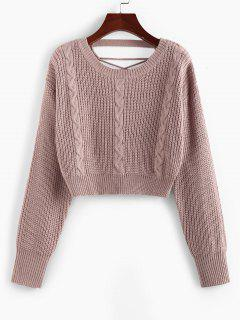 ZAFUL Criss Cross Cable Knit Crop Sweater - Light Pink S