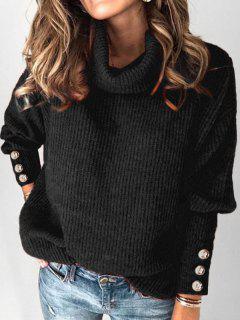 Plus Size Drop Shoulder Turtleneck Sweater - Black 1x