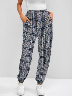 High Waist Plaid Jogger Pants - Blue S