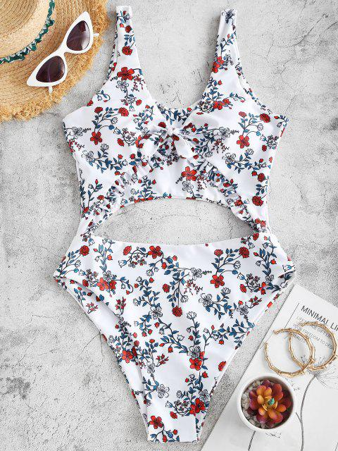 womens ZAFUL Plant Print Frilled Cutout One-piece Swimsuit - DEEP RED L Mobile