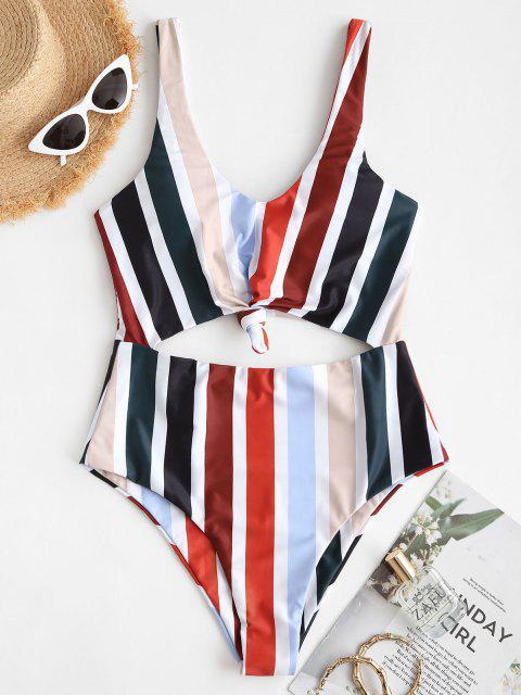 lady ZAFUL Striped Knotted Monokini Swimsuit - MULTI S Mobile