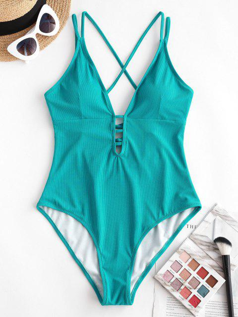 chic ZAFUL Ribbed Cross Lace-up Plunge One-piece Swimsuit - DEEP GREEN XL Mobile