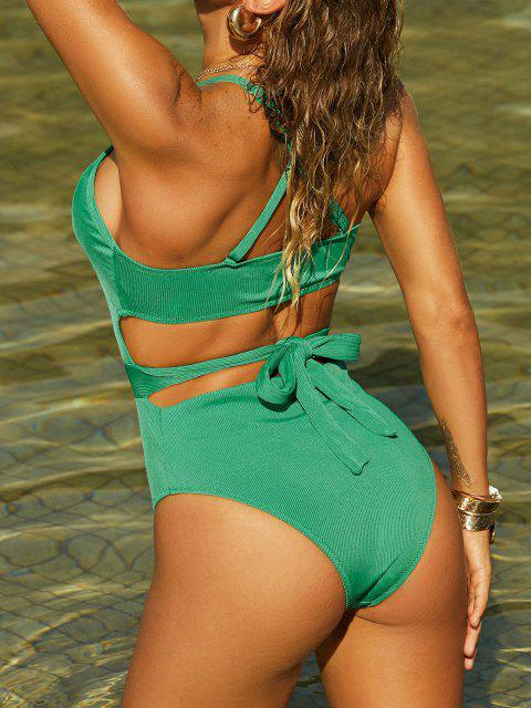 lady ZAFUL Ribbed Criss Cross Tie Back One-piece Swimsuit - LIGHT GREEN L Mobile