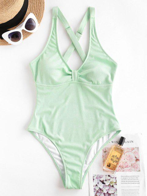 shop ZAFUL Ribbed Criss Cross Knotted One-piece Swimsuit - GREEN L Mobile