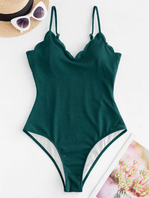 womens ZAFUL Scalloped Ribbed One-piece Swimsuit - DEEP GREEN S Mobile