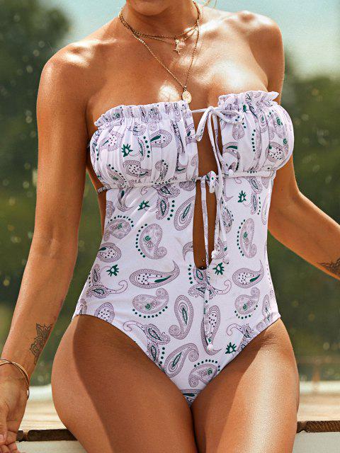 trendy ZAFUL Wondering Paisley Print Tie Bandeau One-piece Swimsuit - MULTI-A XL Mobile