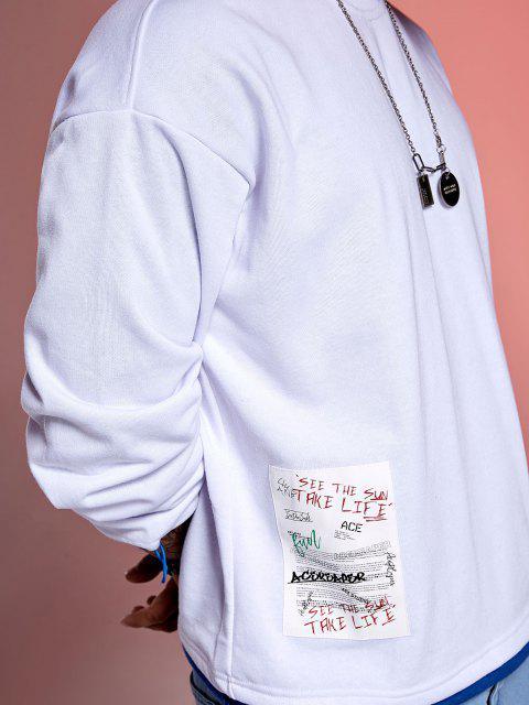 womens Color Block Splicing Hem Letter Applique Casual Sweatshirt - WHITE M Mobile