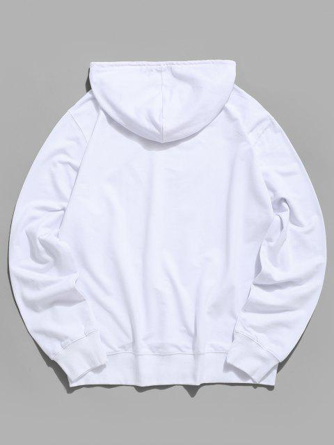 ladies Colorful Painted Heart Graphic Drawstring Pouch Pocket Hoodie - WHITE S Mobile