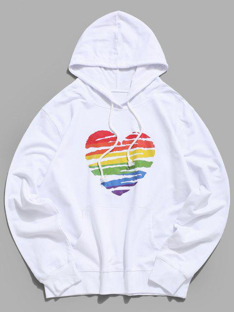 lady Colorful Painted Heart Graphic Drawstring Pouch Pocket Hoodie - WHITE M Mobile